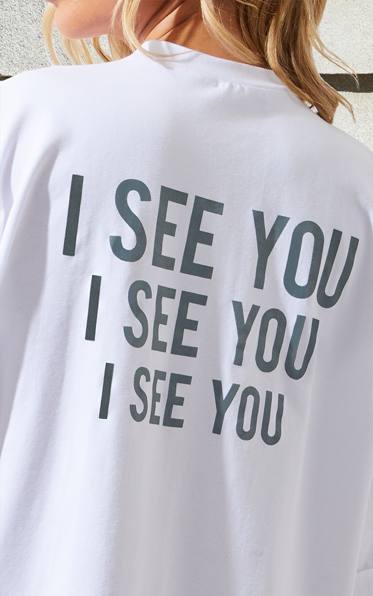 Petite White I See You Oversized Slogan T Shirt Dress 6