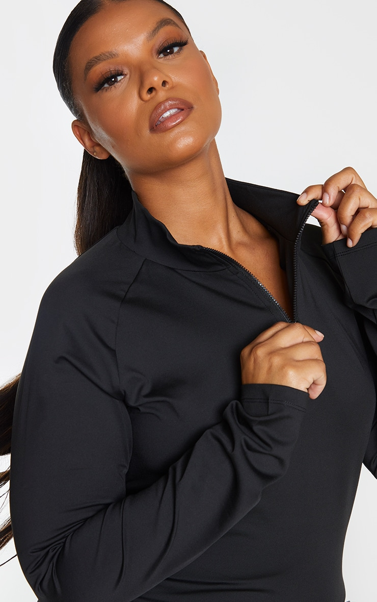 Plus Black Long Sleeve Zip Up Sports Top 4
