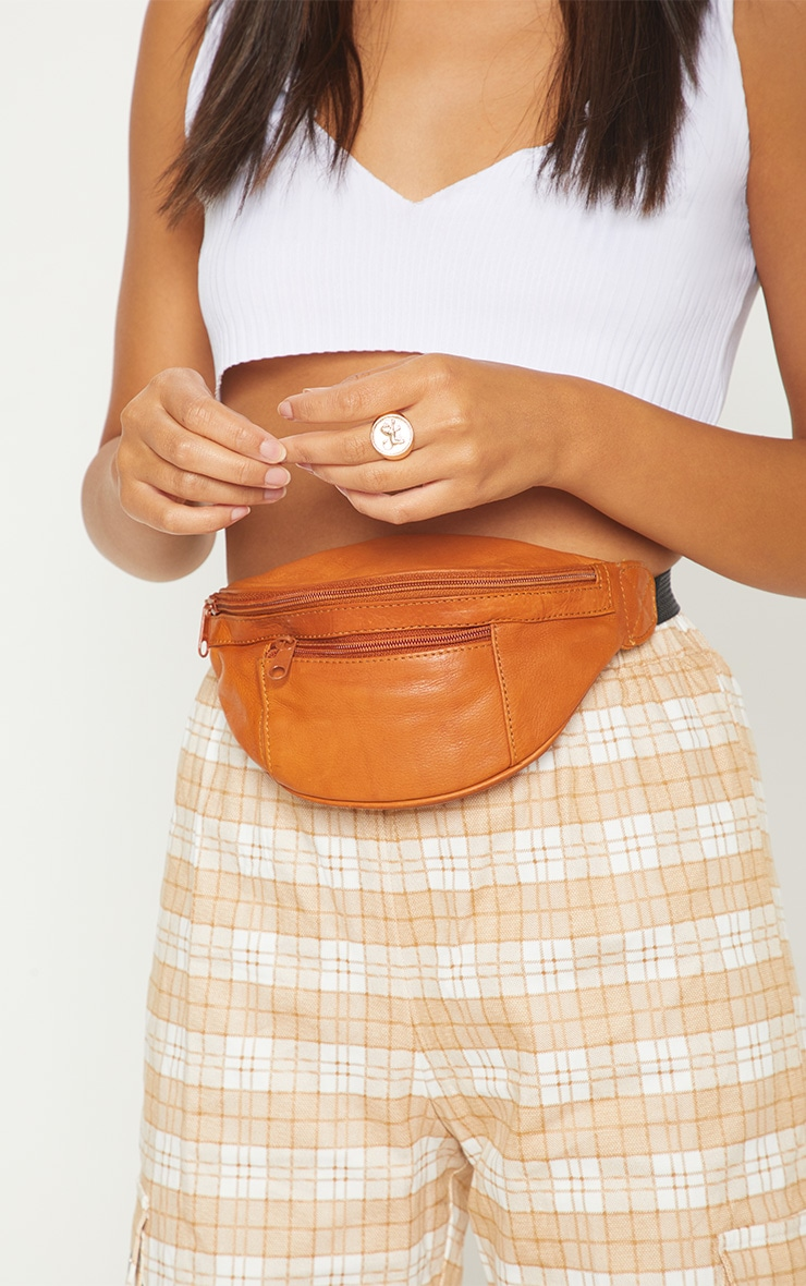 Orange Leather Front Zip Bum Bag 3