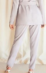 Grey Woven High Waist Cigarette Trousers 3