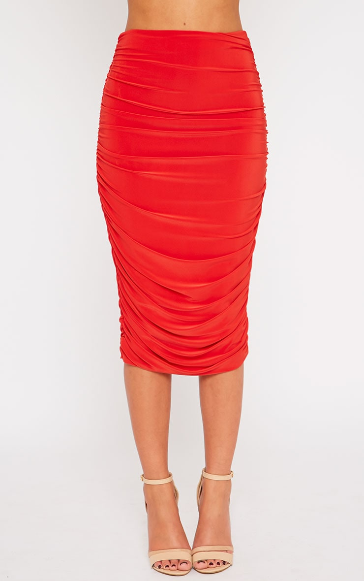 Saylor Red Slinky Gathered Midi Skirt 2