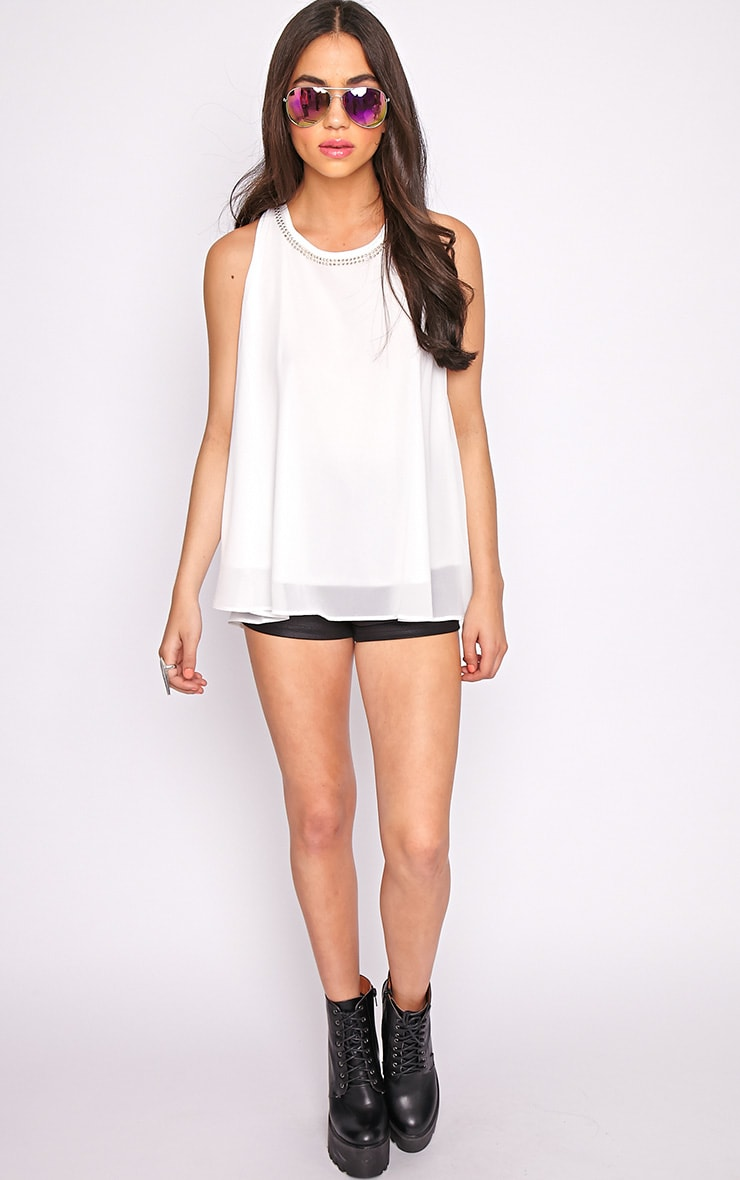 Lizzy White Studded Swing Vest  5