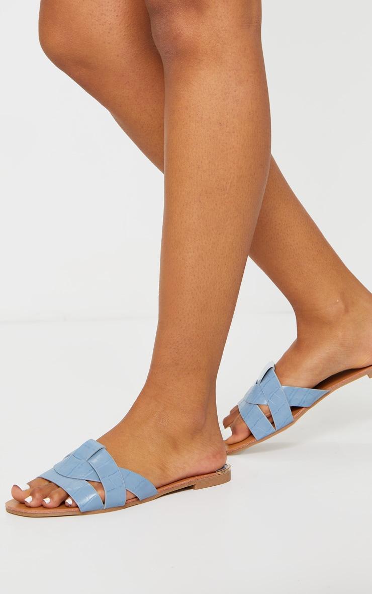 Blue Croc PU Strap Over Flat Sandals 2