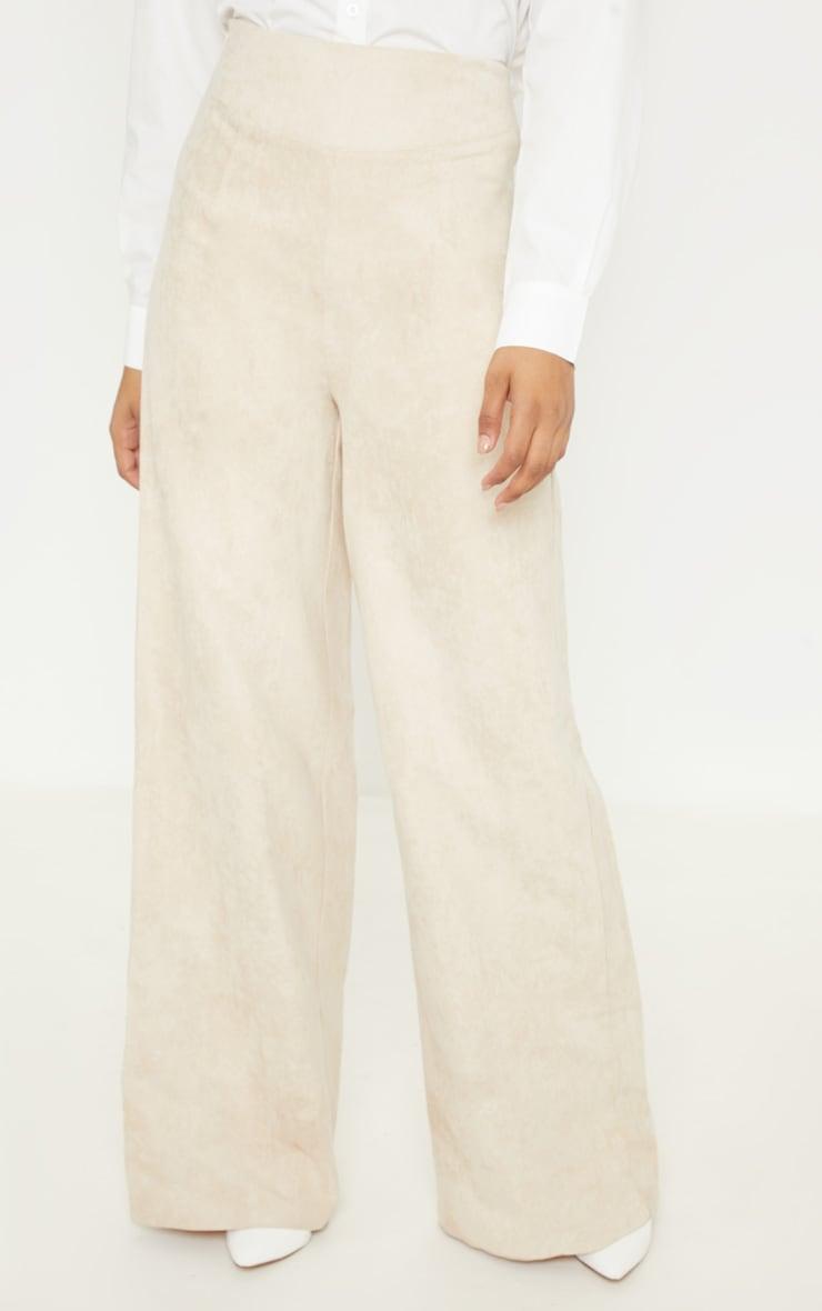 Tall - Pantalon en suédine gris pierre à jambes évasées 2