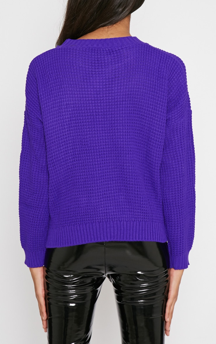 Evie Purple Fisherman Knitted Jumper 2