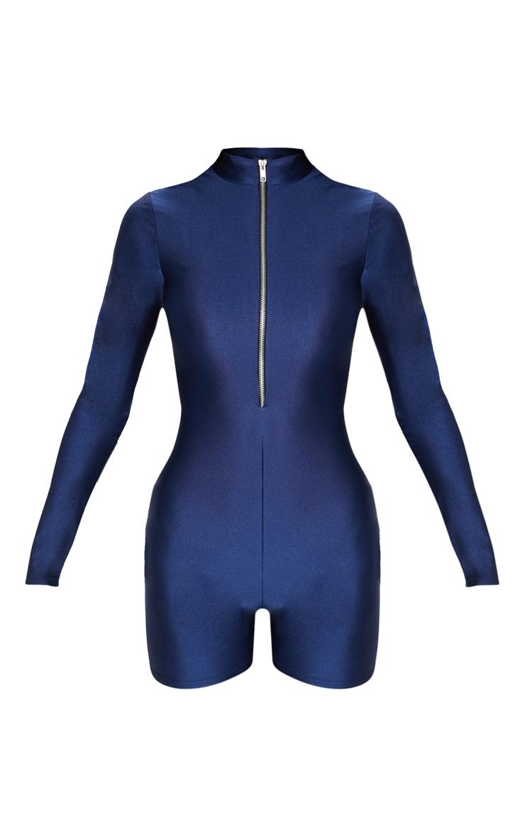 Combinaison disco bleu marine avec col haut, manches longues et zip frontal 3