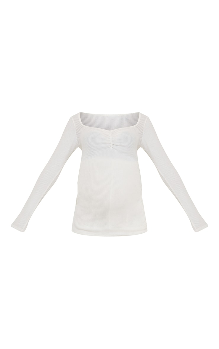 Maternity Cream Ruched Bust Brushed Rib Top 5