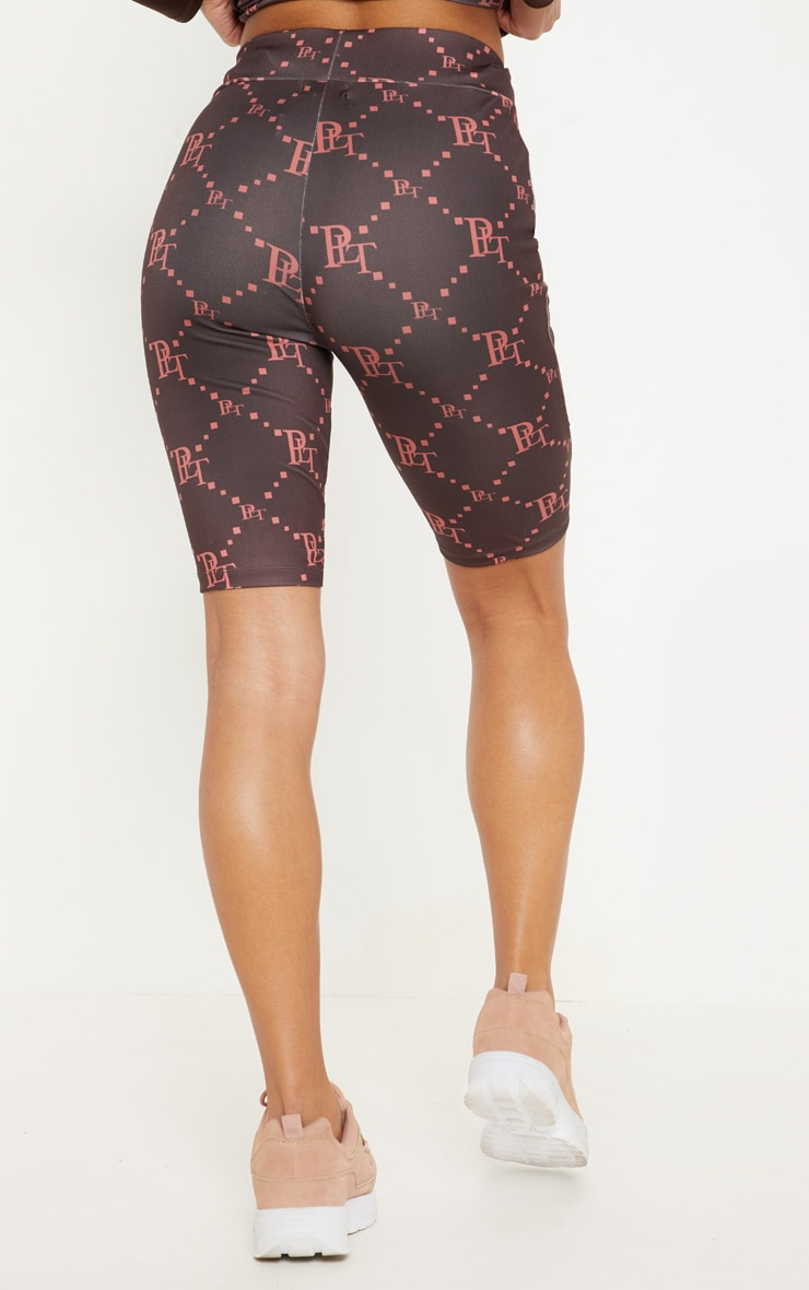 PRETTYLITTLETHING Chocolate Monogram Cycling Short 4