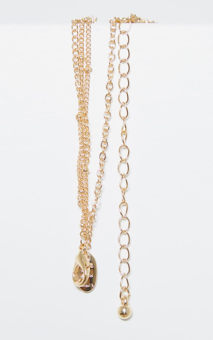 Gold Bull And Penny Cross Multi Chain Necklace 4