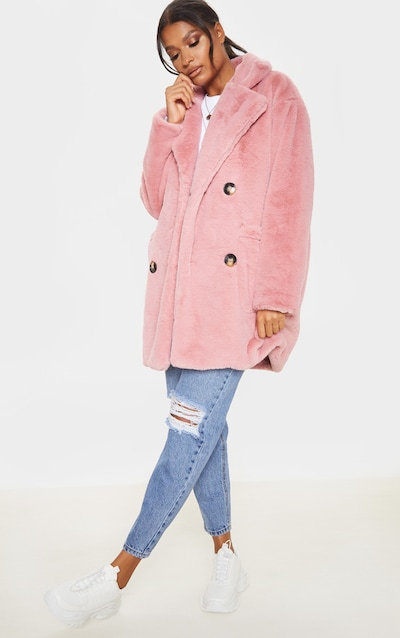 Rose Faux Fur Double Breasted Button Detail Coat