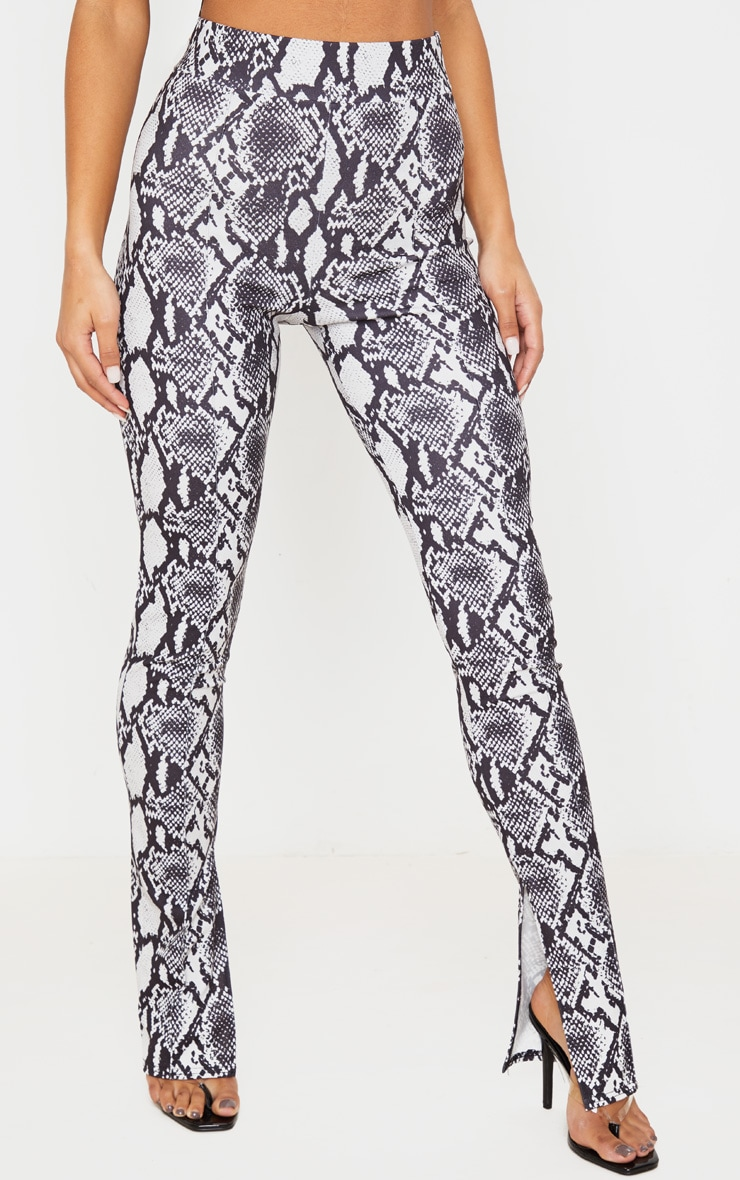 Grey Snake Split Hem Skinny Pants 2