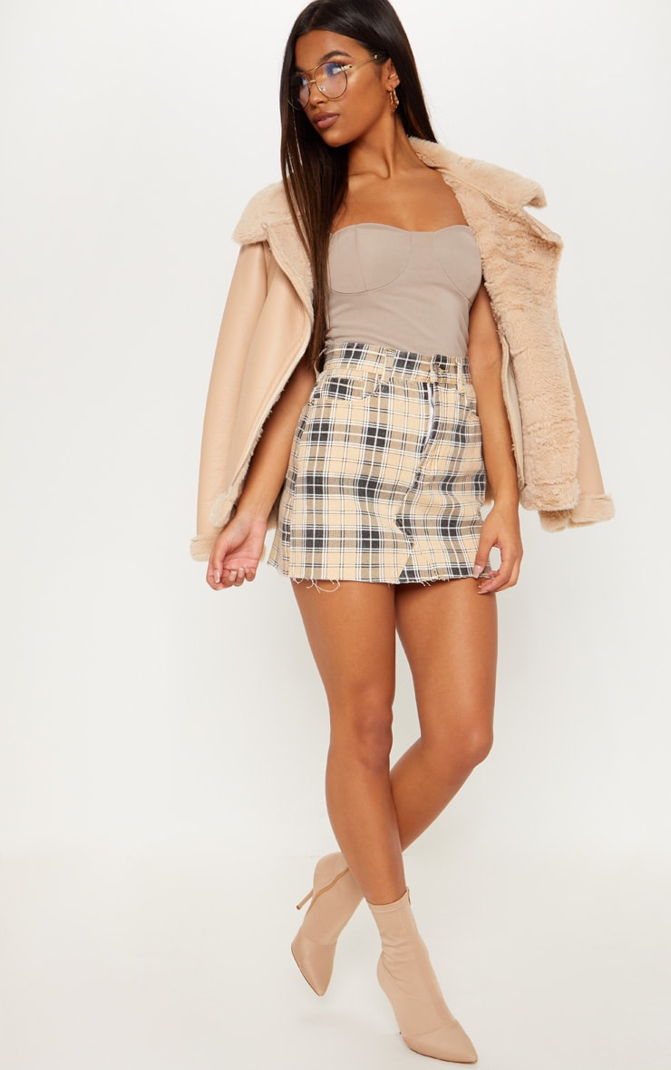 Stone Check Denim Skirt 5