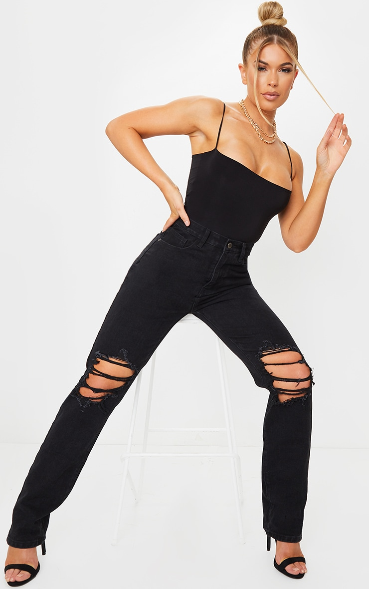Washed Black Ripped Knee Long Leg Straight Jeans 1