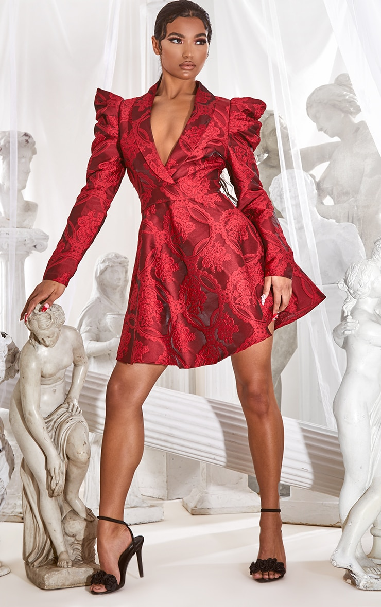 Red Jacquard Puff Sleeve Lapel Detail Skater Dress 3