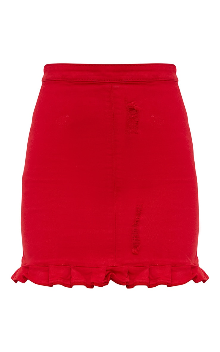 Red Ruffle Hem Denim Skirt 3
