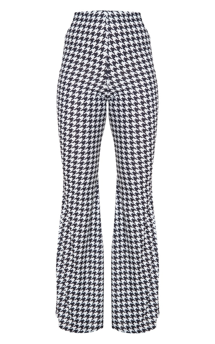 Black Dogtooth Flared Trousers 3