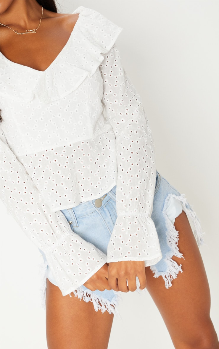 White Broderie Anglaise Frill Detail Blouse 5