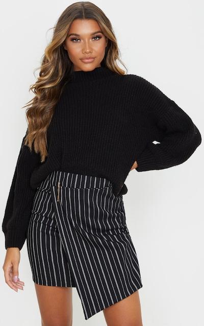 Black Wrap Pinstripe Mini Skirt