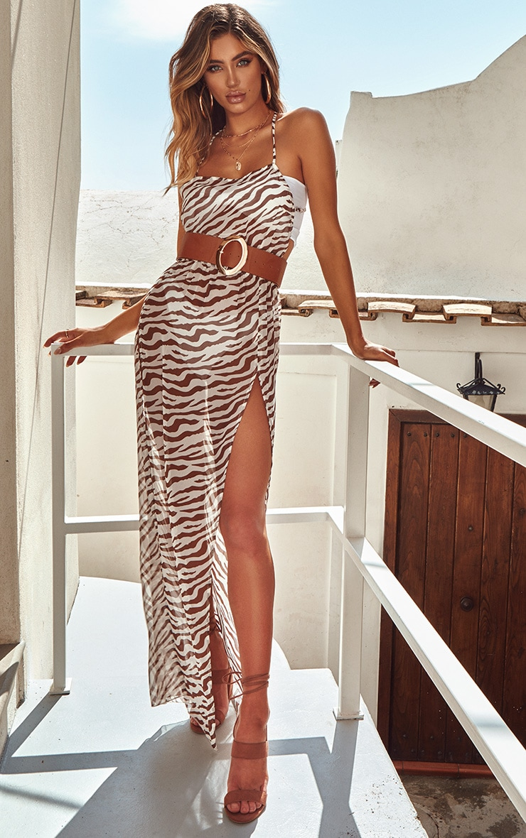 Brown Zebra Belted Split Beach Maxi Dress
