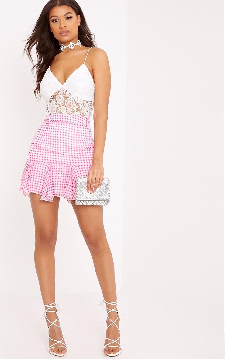 Zahara Pink Chiffon Floaty Hem Gingham Mini Skirt  5