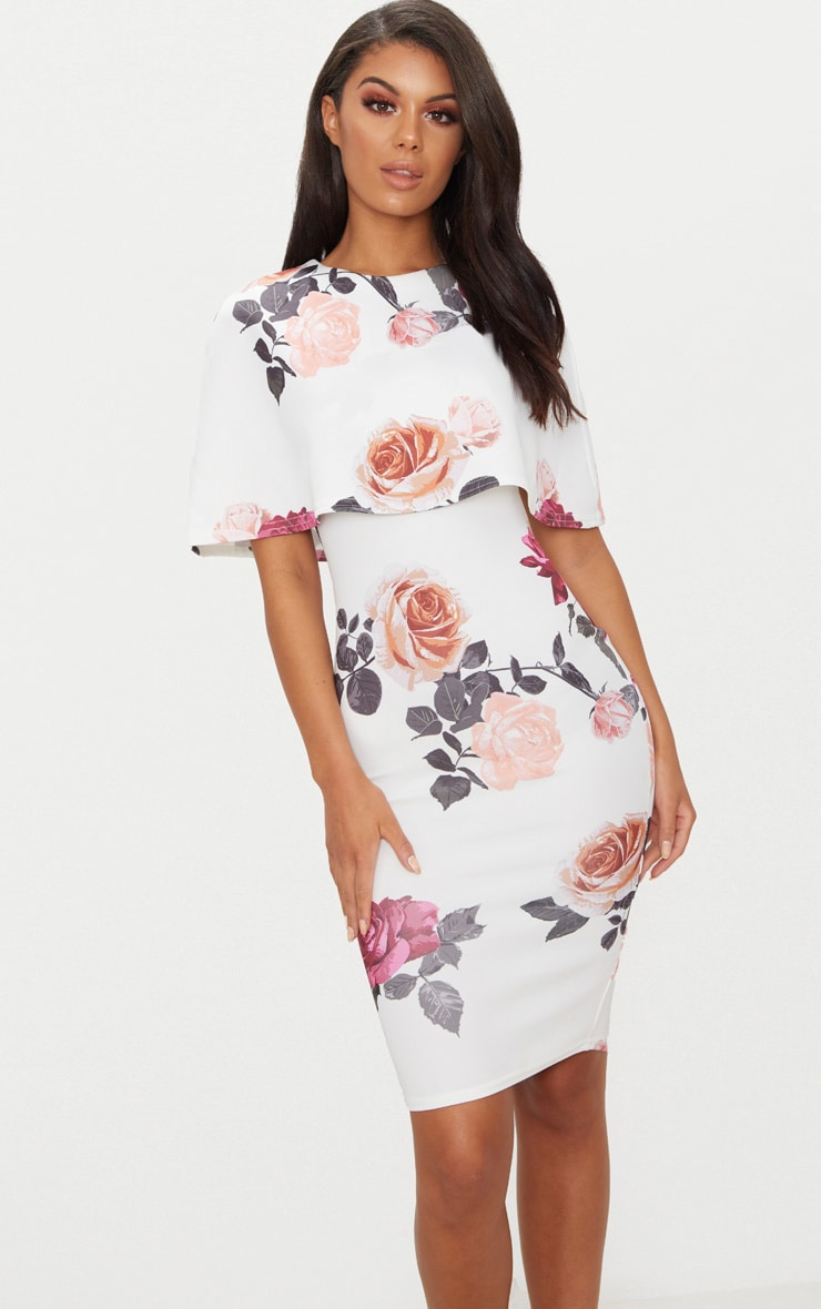 White Floral Print Cape Detail Midi Dress 1