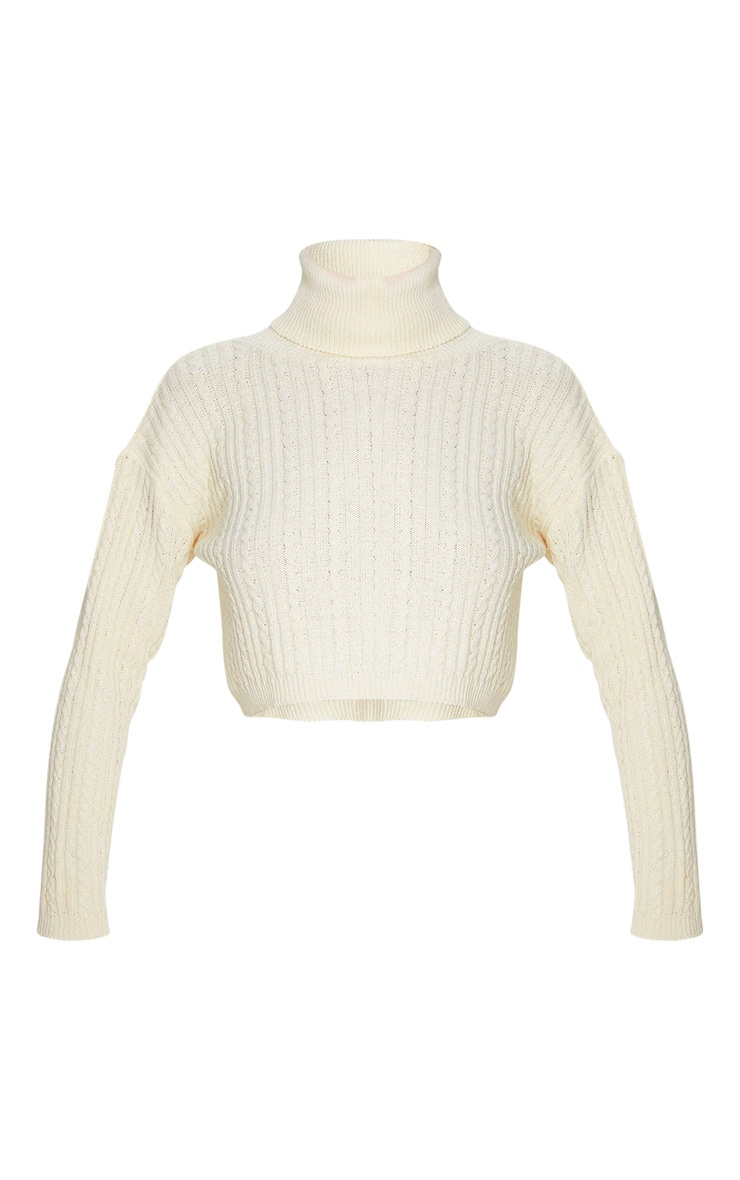 Cream Roll Neck Cable Knit Cropped Jumper 3