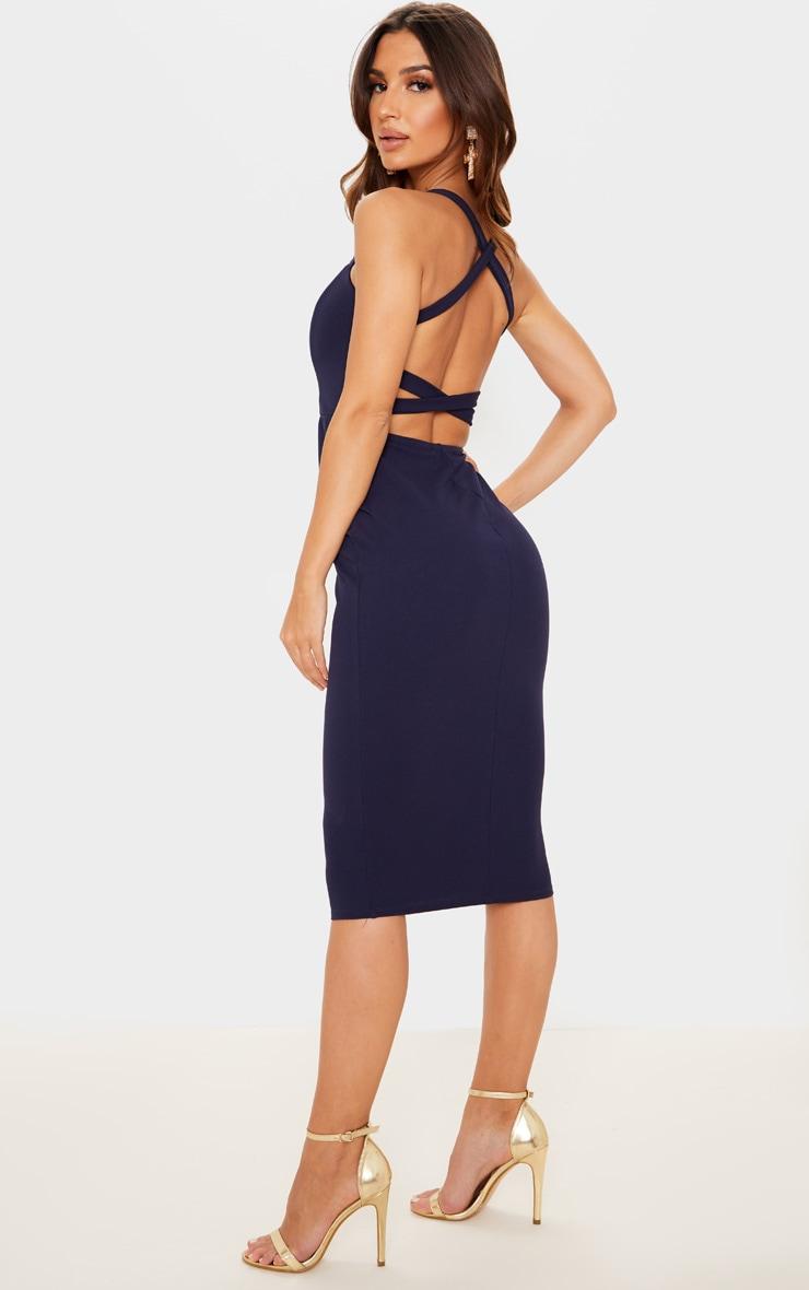 Navy Strappy Back Midi Dress 1