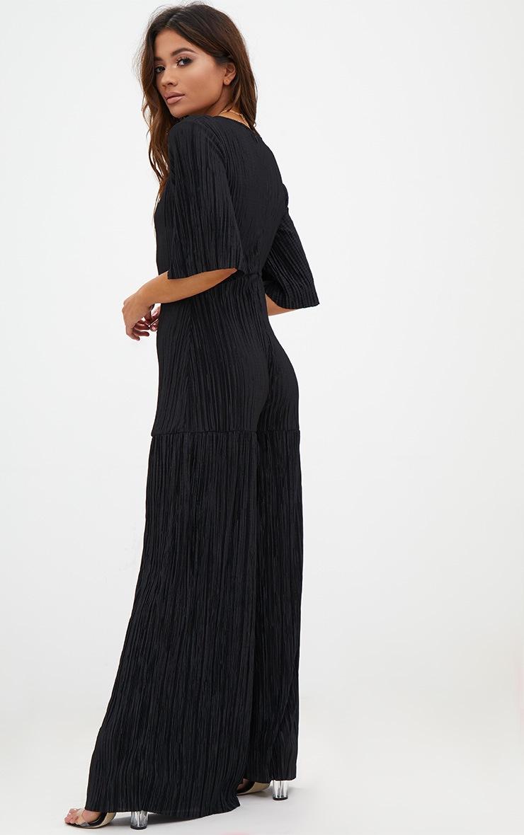 Petite Black Pleated Plunge Flared Jumpsuit 2