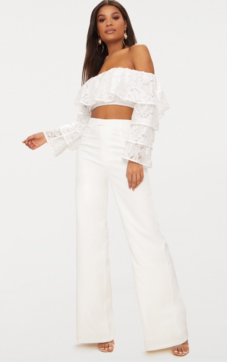 White Tiered Lace Frill Crop Top 4