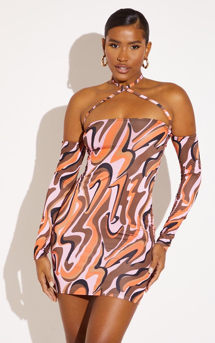 Pink Abstract Print Slinky Cold Shoulder Halterneck Bodycon Dress 1