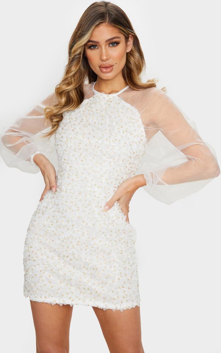 White Floral Applique Organza Sleeve Shift Dress 1