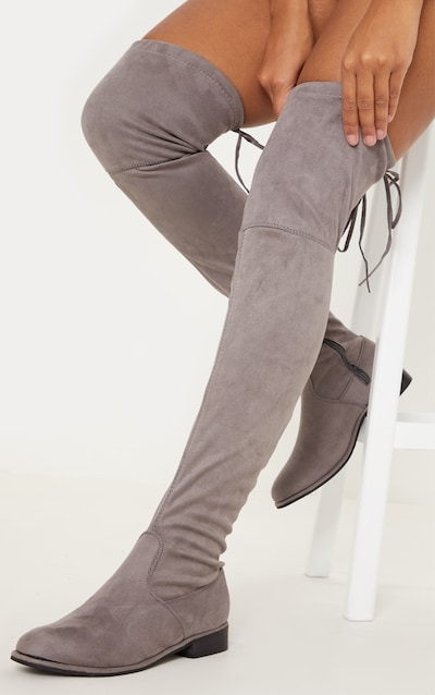 559e3f0a1c2e Grey Flat Over The Knee Boot