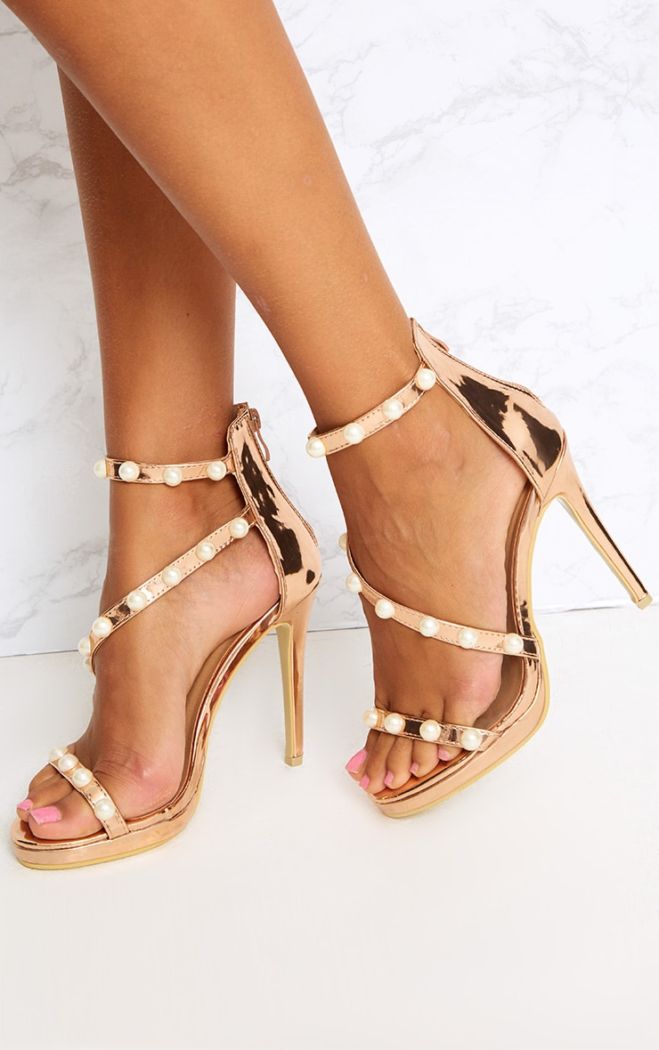 Rose Gold Pearl Triple Strap Heels 2