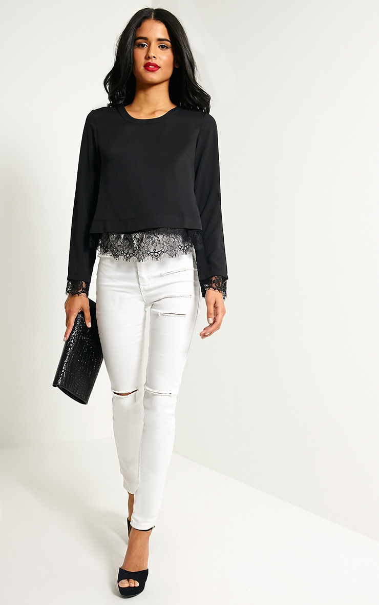 Katty Black Lace Hem Wrap Back Top 2