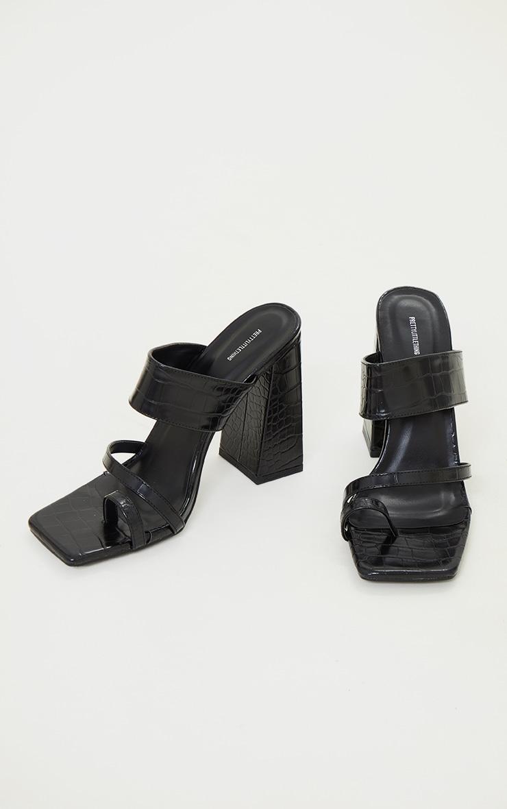 Black PU Croc Toe Loop Block Heel Mules 3