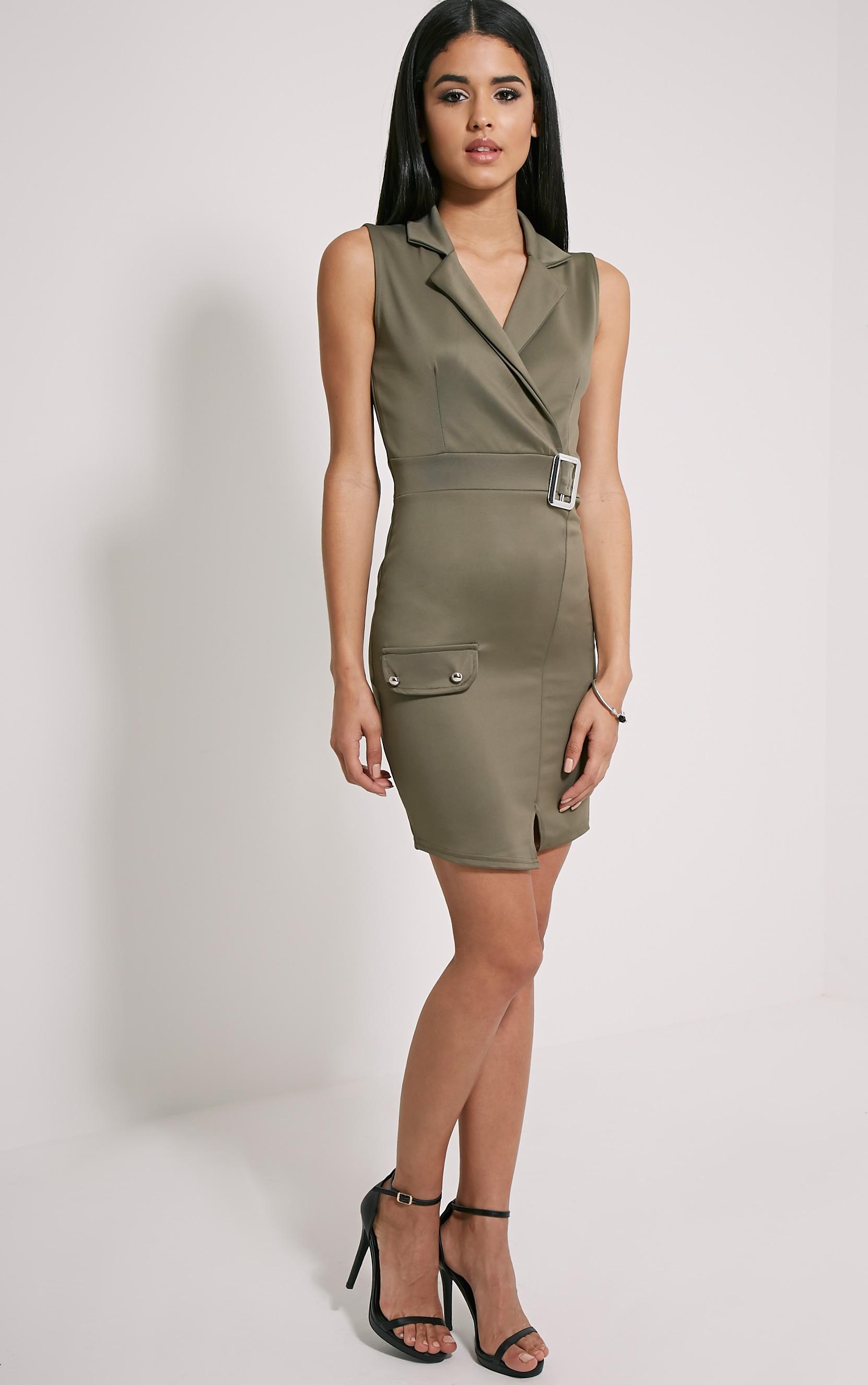 Samaine Khaki Belted Mini Dress 4