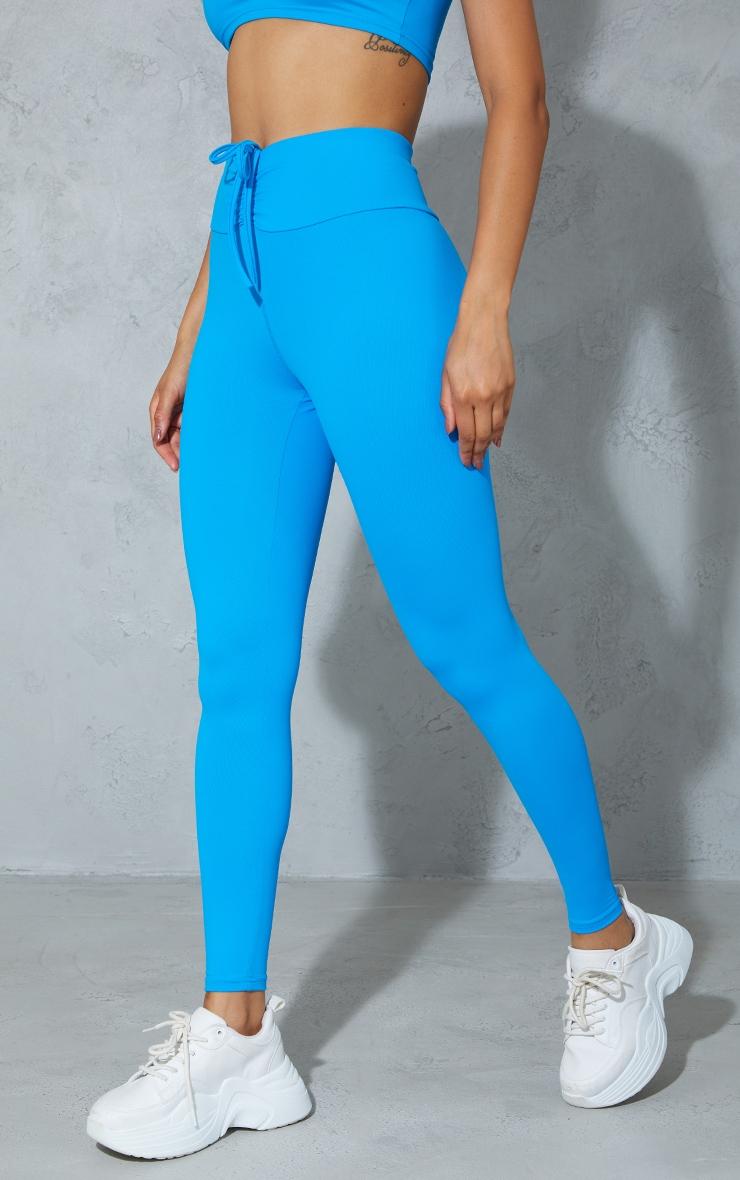 Blue High Waist Ruched Bum Gym Leggings 2