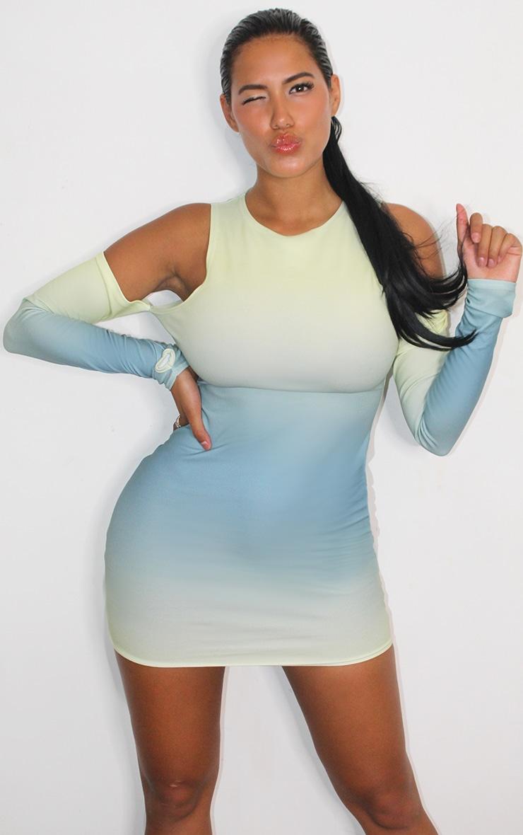 Shape Lemon Ombre Slinky Cut Out Bodycon Dress 3