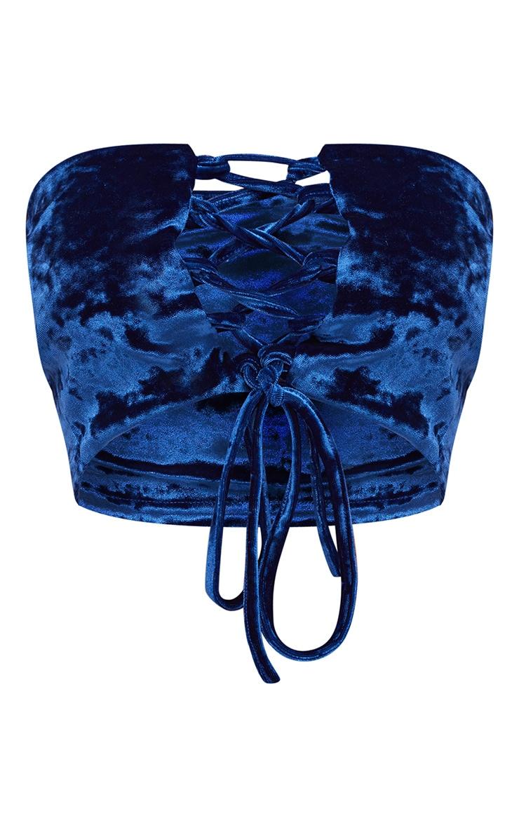 Shape Cobalt Crushed Velvet Lace Up Bandeau Top 3