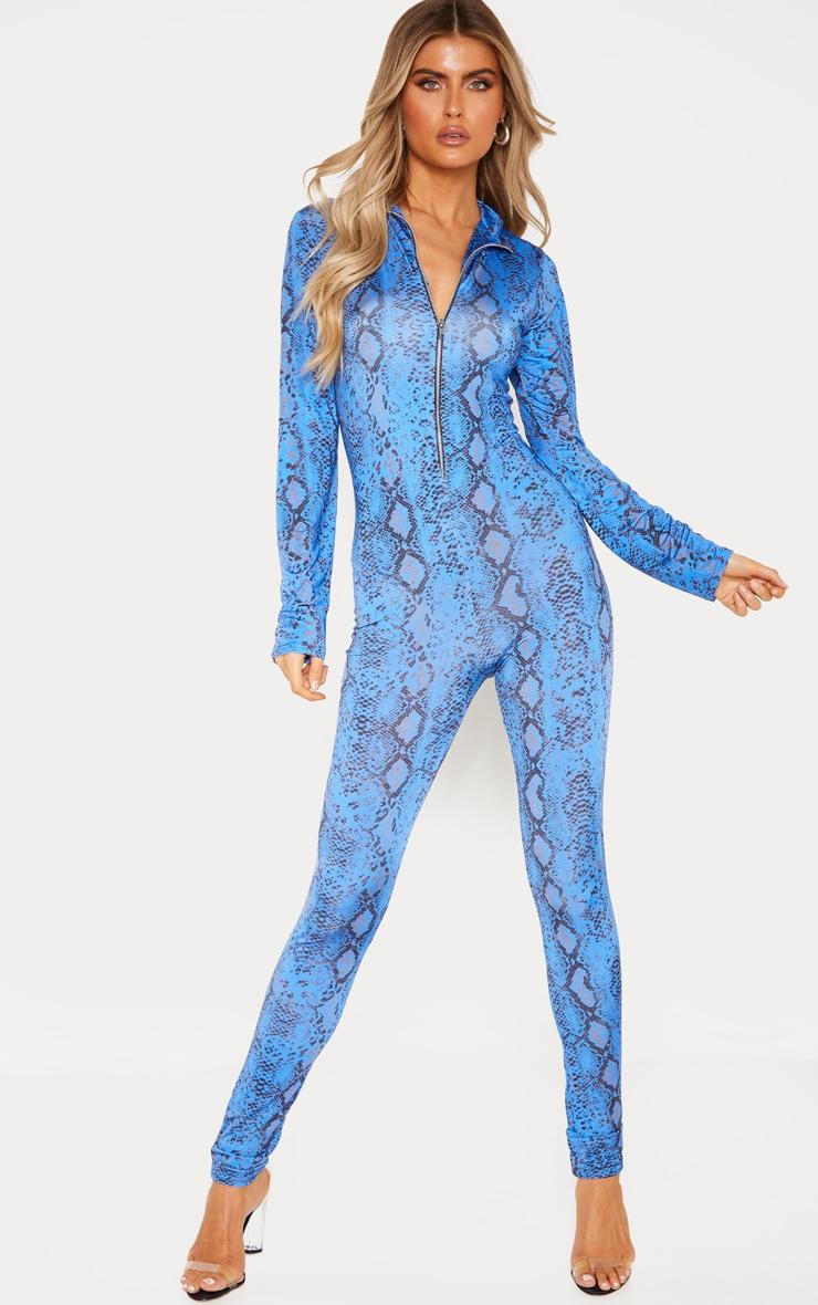 Tall Blue Snake Print Zip Jumpsuit 2