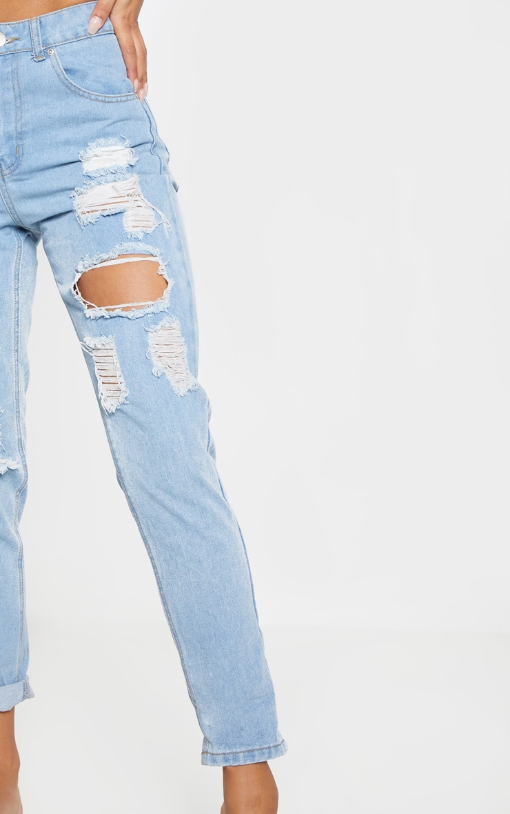 Light Wash Super Distress Mom Jean 6