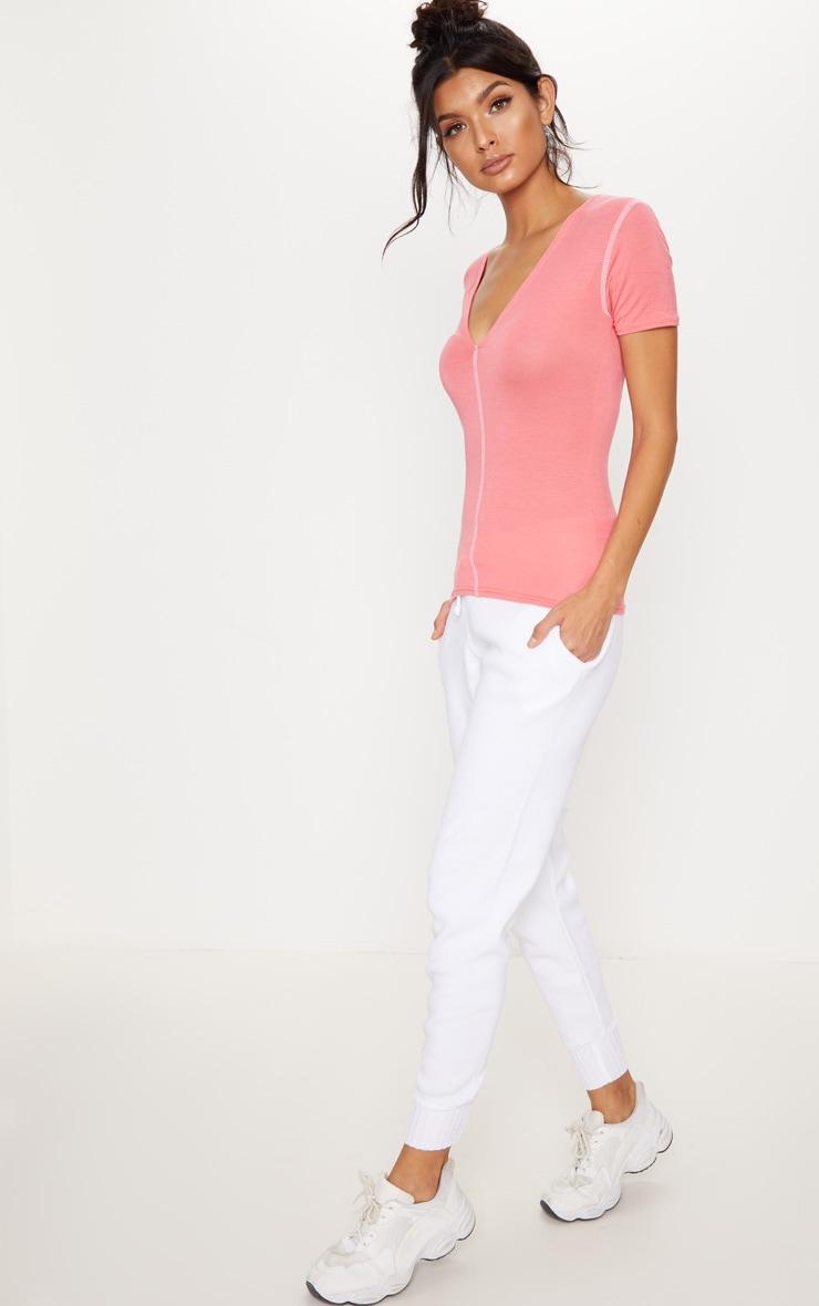 Pink Contrast Seam Plunge T Shirt