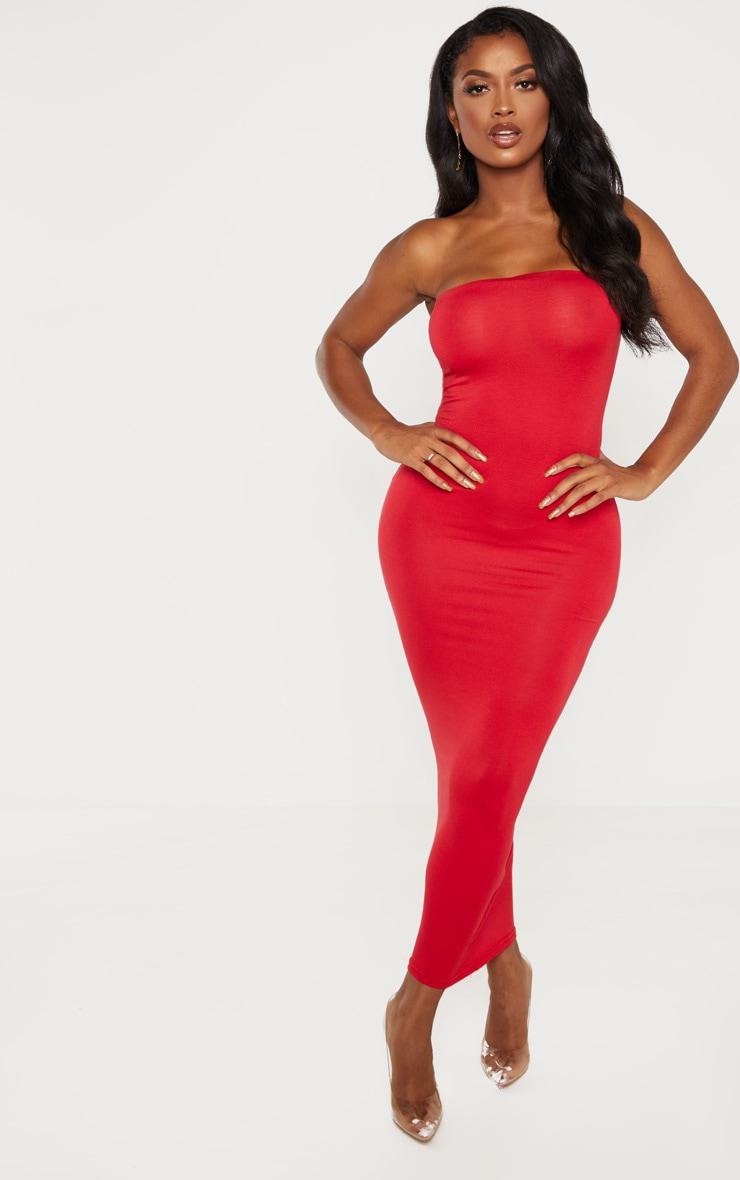 Shape Red Jersey Bandeau Maxi Dress