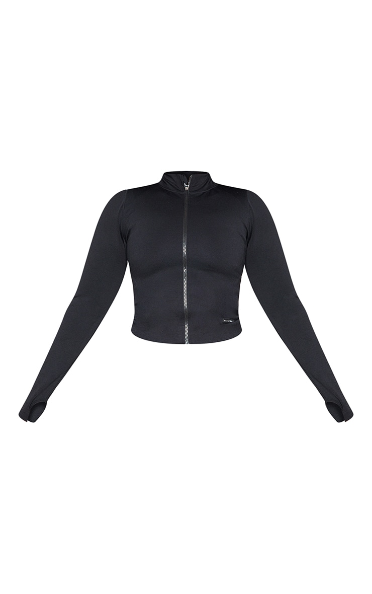 Plus Black Seamless Rib Detail Jacket 5