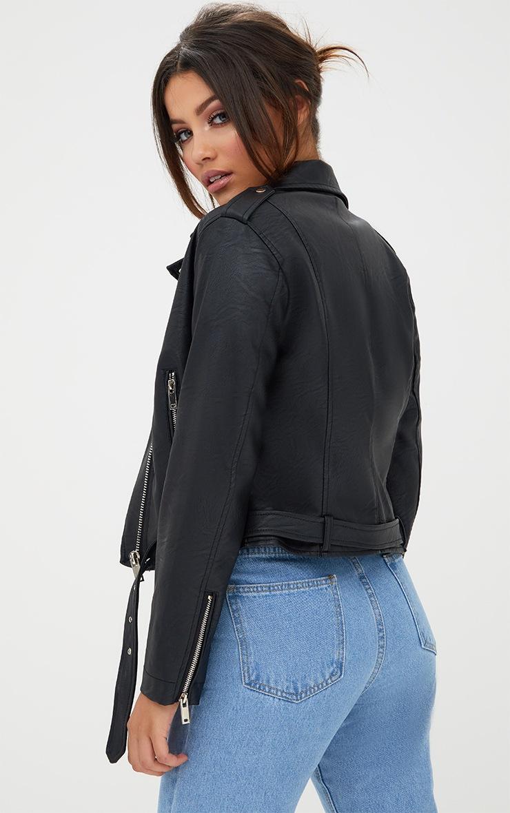 Black PU Biker Jacket 2