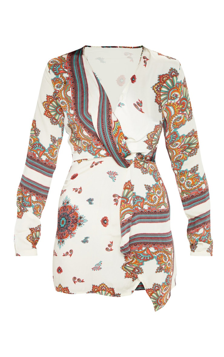 White Printed Silky Long Sleeve Wrap Dress  3