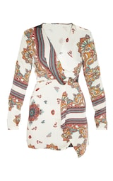 White Printed Silky Long Sleeve Wrap Dress 3