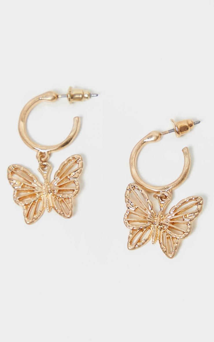 Gold Butterfly Hoop Drop Earrings 2