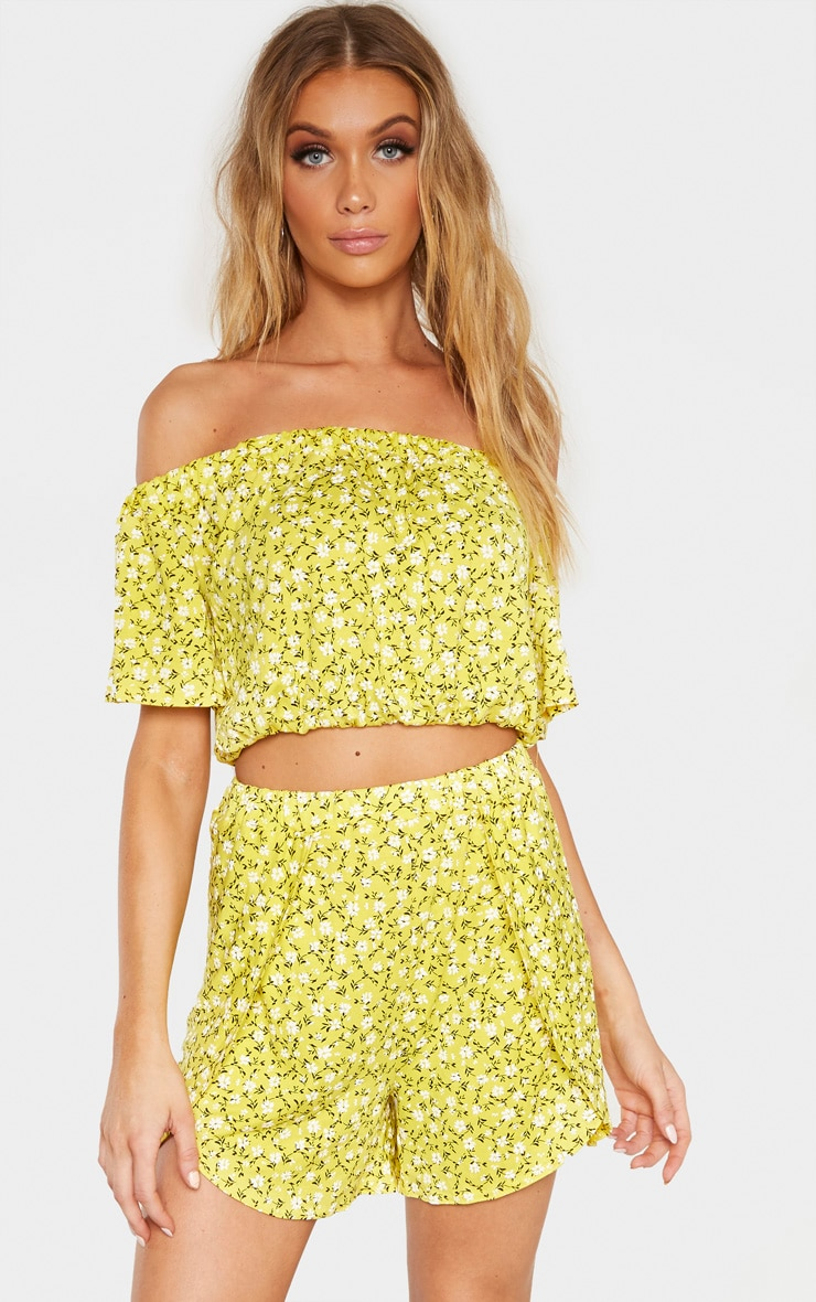 Tall Yellow Ditsy Floral Print Floaty Short 1