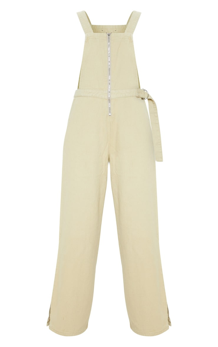 Stone Zip Through Dungarees  3